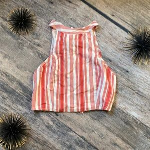 Band of gypsies burnt red stripe halter top sz xs